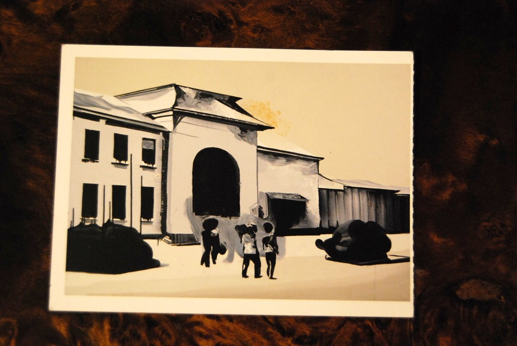 Train ticket from Tarnów. It presents a reproduction of a painting by Wilhelma Sasnala. The painting depicts a train station in Tarnów, photo from the archive of BWA in Tarnów.