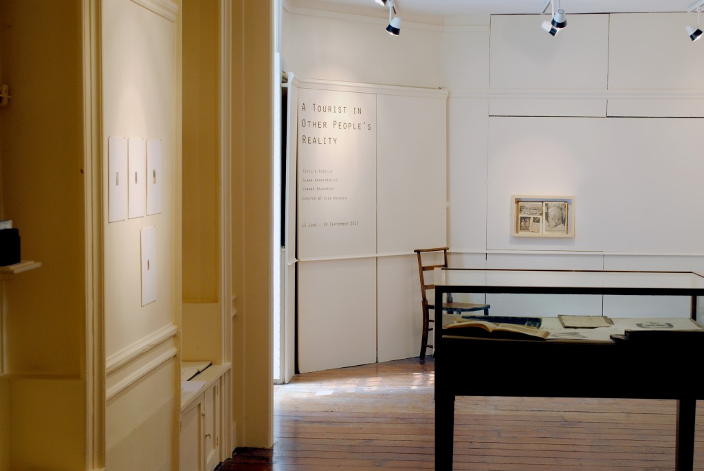 """Display view,""""A tourist in other people's reality"""" exhibition by Cecilia Bonilla, Sława Harasymowicz and Joanna Rajkowska, Vestry House Museum, London, August 2013, photo courtesy of Cecilia Bonilla"""