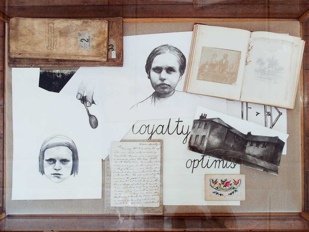 """Sława Harasymowicz, Idle, Abusive, Unruly, 2013, archival documents from Vestry House, drawings, display cabinet, dimensions variable, """"A tourist in other people's reality"""", Vestry House Museum, London, August 2013, Photo Contemporary Lynx"""