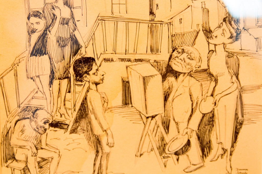 Bruno Schulz, Groteska. Kataryniarz na Podworku, 1936, drawing, 16,9cm x 19,9cm, Collection of Emanuel Ringelblum, courtesy of Jewish Historical Institute in Warsaw, photo Contemporary Lynx, Mulhouse, March 2014