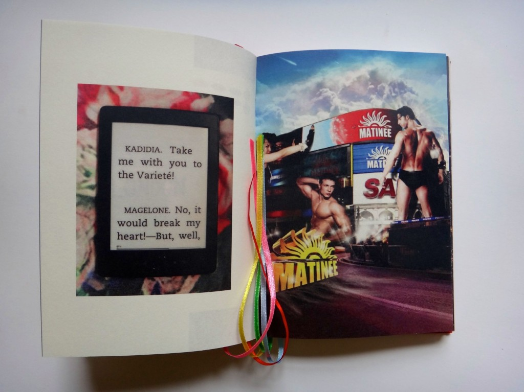 Magda Buczek, Justina&co.uk, 2013, artbook, 20x15cm, archive paper cover with canvas and a bandaid sticker in the shape of mouth covered with nail varnish, found footage photography and archive materials, fragments of e-editions of Daniel Dafoe's Moll Flanders and Frank Wedekind's Lulu, photo courtesy the artist