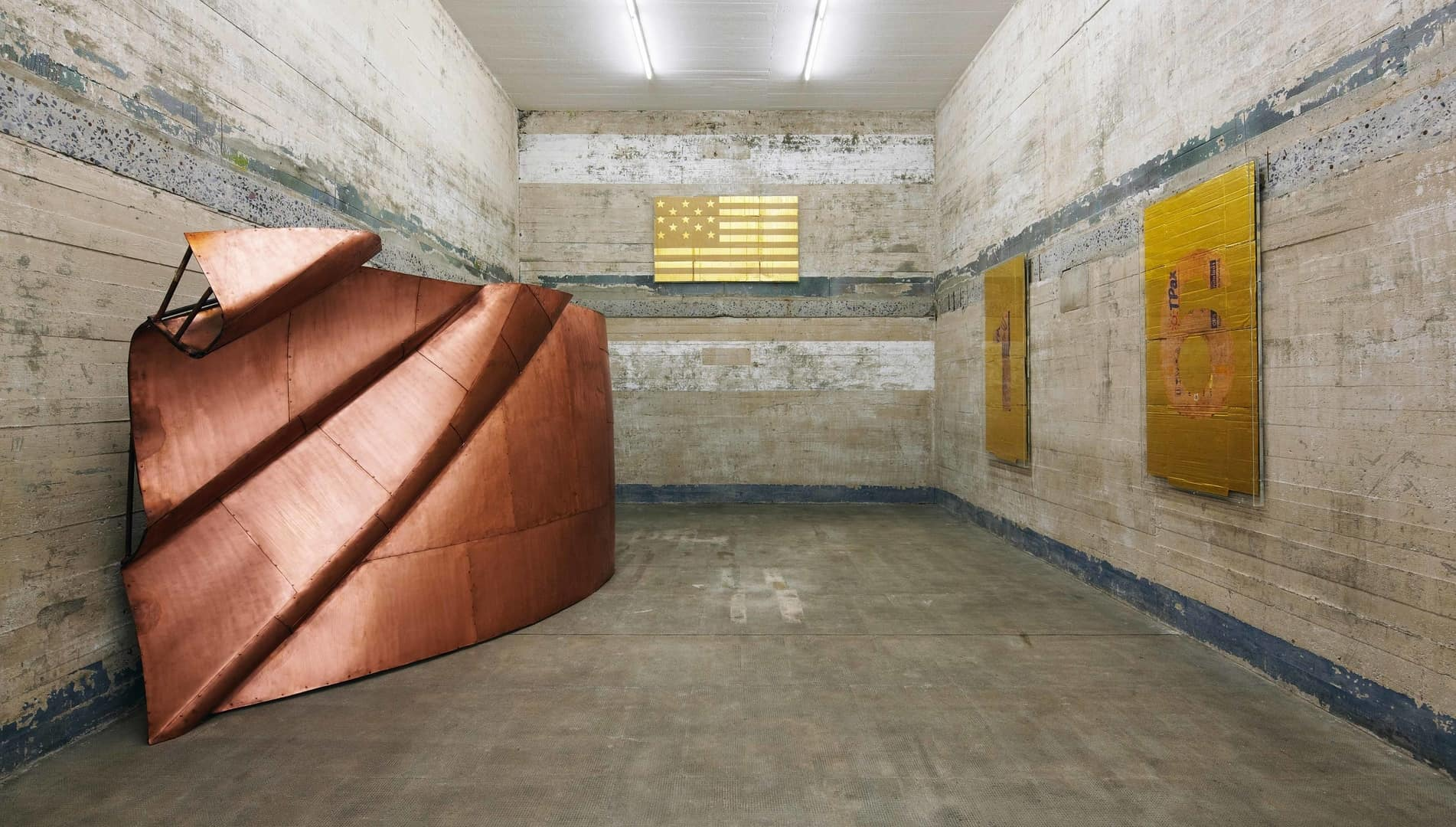 Danh Vo, Numbers (6), 2011; Trio, 2010; We the people (detail), 2011, Boros Collection / Bunker Berlin, 2015, Photo. NOSHE