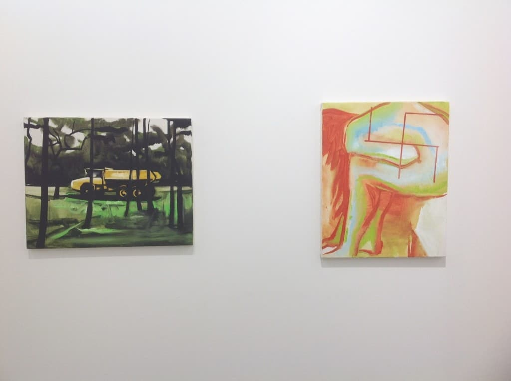 Wilhelm Sasnal, left: Untitled, 2012, oil on canvas; right: Swastika, 2014, oil on canvas, Sadie Cole, photo Contemporary Lynx