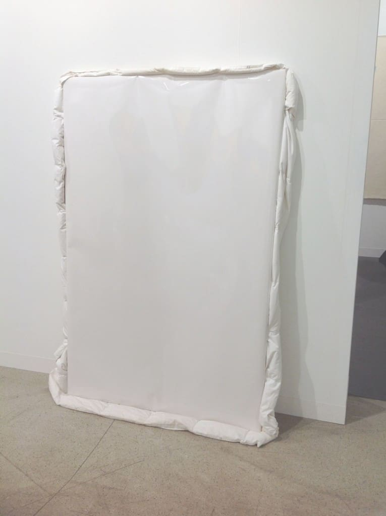 Michał Budny, Only Fear, 2015, wood, coated paper, blanket, 190 x 125 x 8 cm, Galerie Nordenhake, photo Contemporary Lynx
