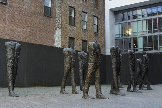 Abakanowicz, Walking Figures, 2009, bronze, 57th St. Terrace, view 2, photo courtesy the artist and Marlborough Gallery