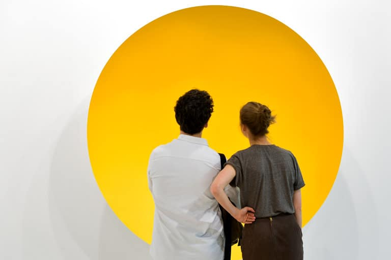 Anish Kapoor's Monochrome Yellow 2017 on display at the Galerie Kemel Mennour stand at Art Basel