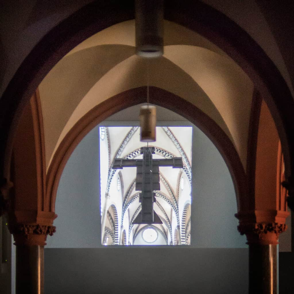 """""""Mad Tea Party"""" (curated by Aneta Rostkowska and Jakub Woynarowski), """"Fugitive Mirror"""" by Alexander Nagel and Amelia Saul, lecture/video, Christuskirche, Cologne, 2017"""