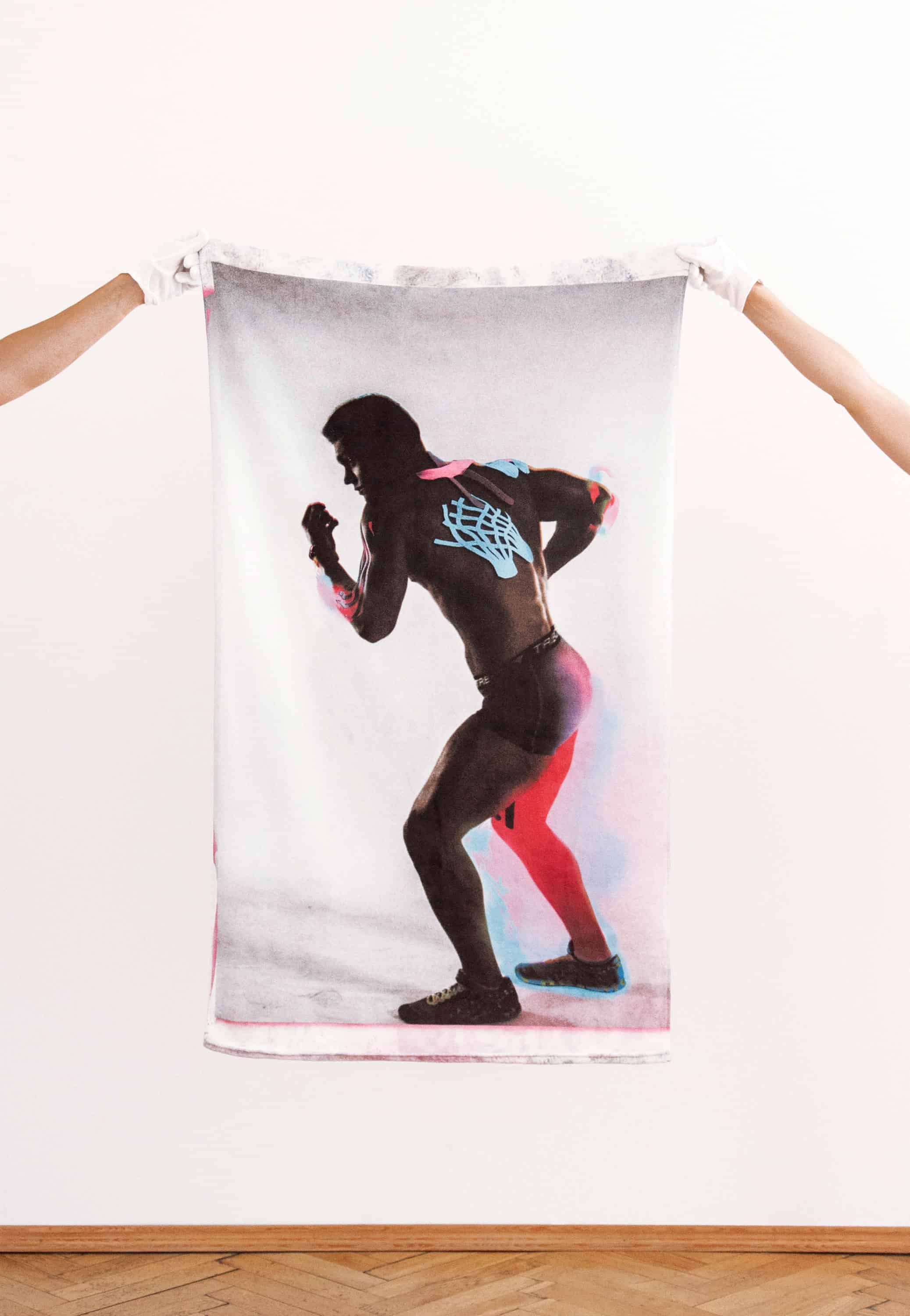 """Norbert Delman, """"Earn your shower series"""", 2015–2016, digital print on fabric (50% polyester, 50% cotton), 130 × 70 cm"""