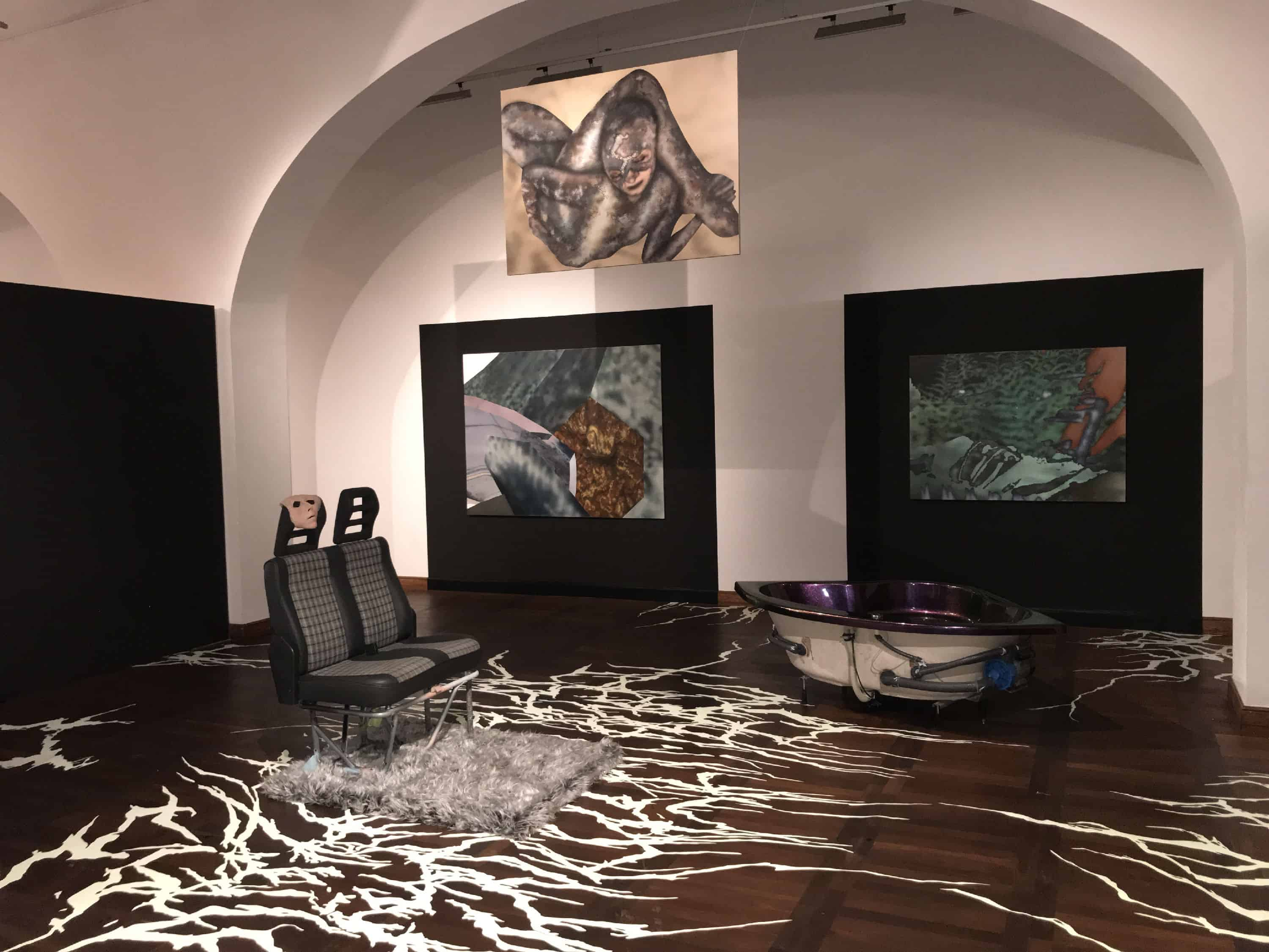 View of the exhibition %22Snakes, Dragons and Phantoms%22 by Aleksander Błaszkiewicz in the Armoury of Arts in Gdańsk, courtesy: Aleksander Błaszkiewicz