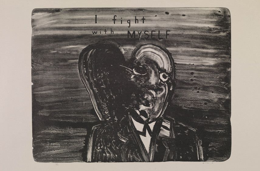 David Lynch, 'I Fight with Myself', painting, source: widewalls