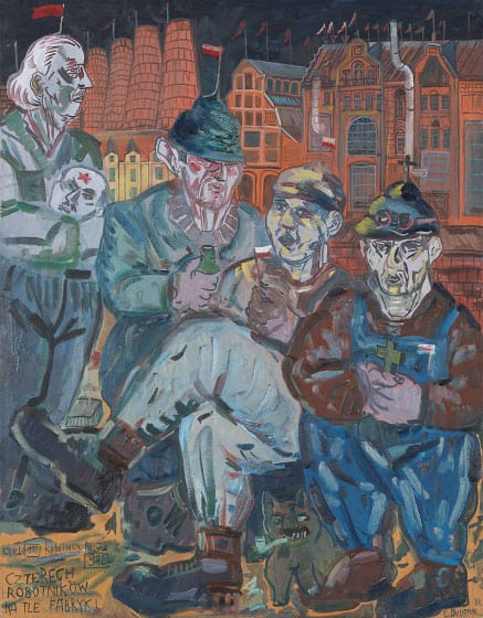 Edward Dwurnik, Four workers and the factory, 1984, courtesy Polswiss