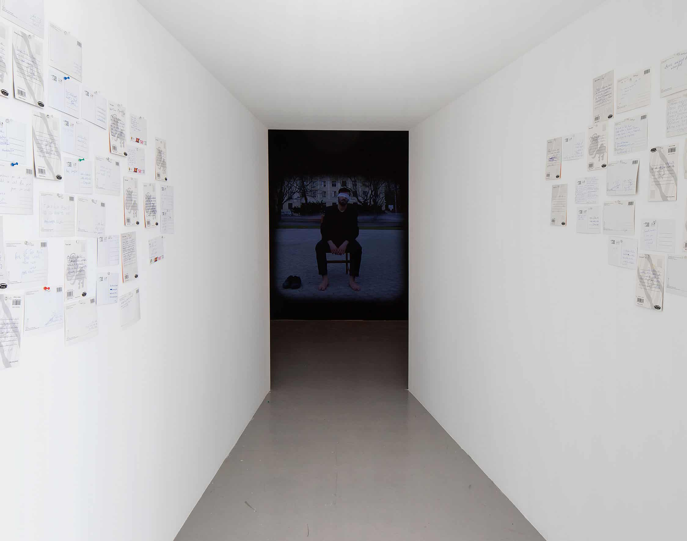Entrance to the exhibition 'Operations on places' in Petach Tikva Museum of Art, photo: Elad Sarig, courtesy of the Petach Tikva Museum of Art