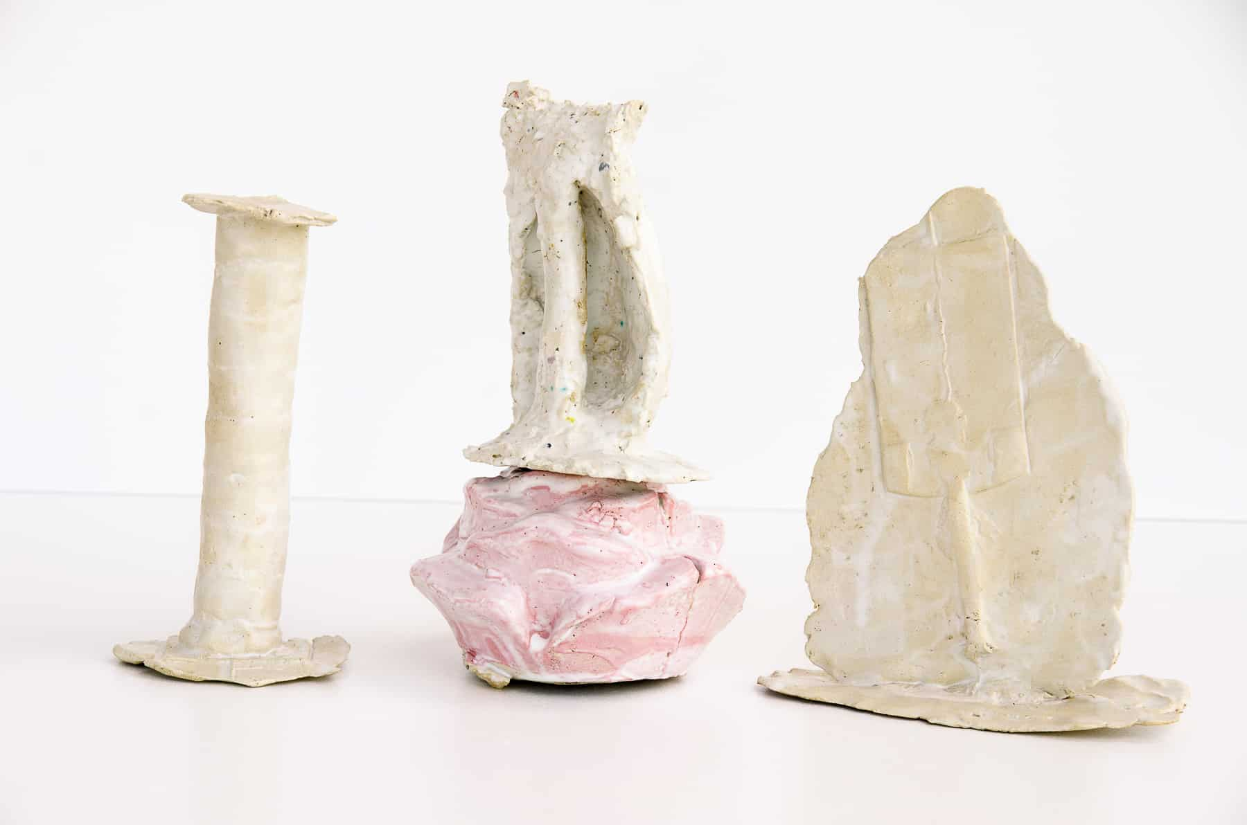Ovidiu Leuce-Untitled (from the series Notes on the melody of things), white clay, slip casting and hand building, glazed, variable dimensions, 2018