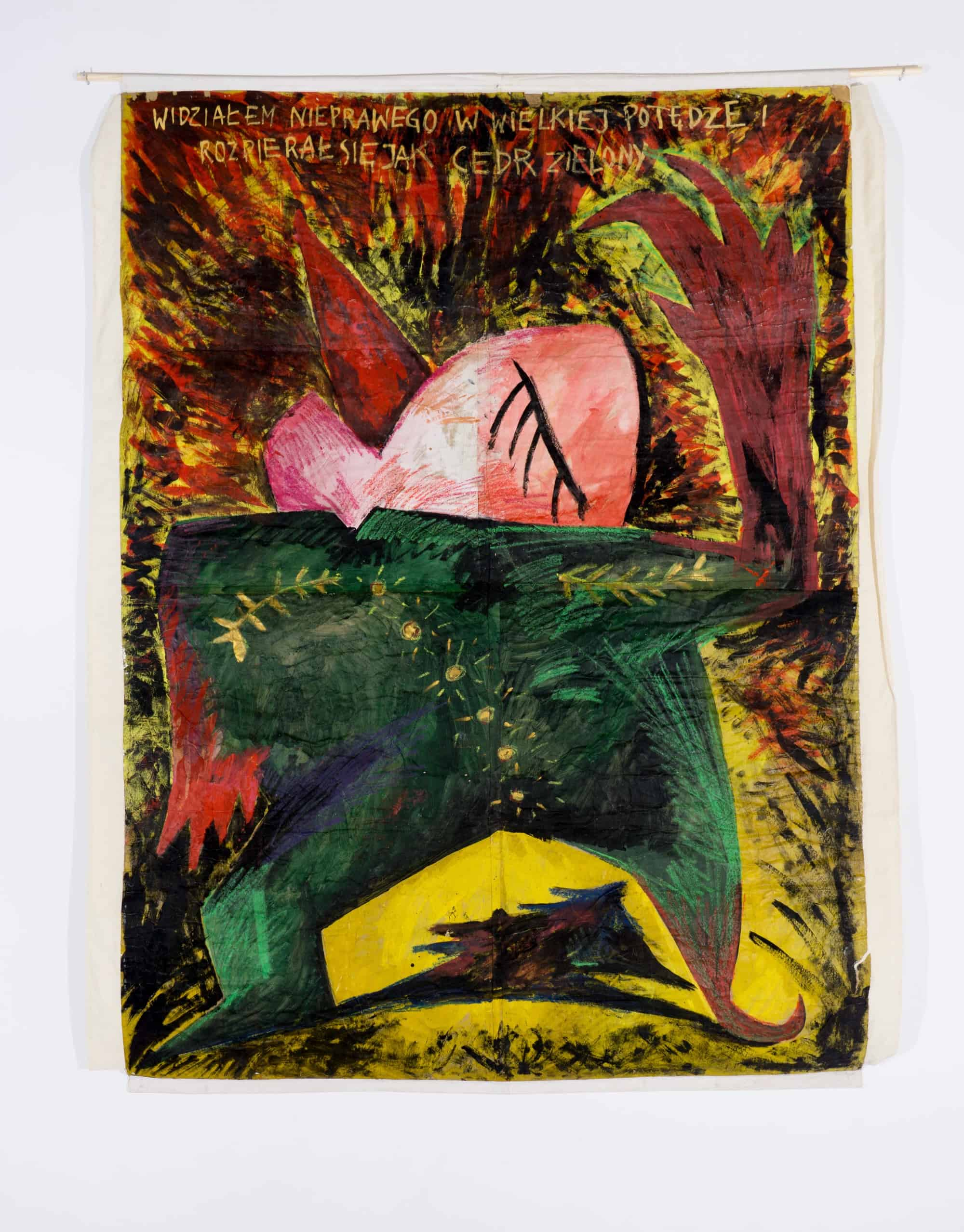 """Paweł Kowalewski, """"I have seen the wicked in great power, and spreading himself like a green bay tree"""", 1985, acrylic on paper, 250 x 180 cm"""