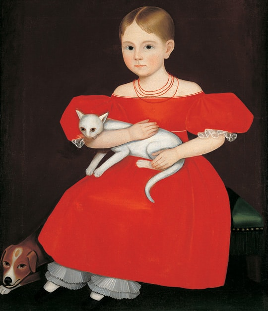 Ammi Phillips, Girl in Red Dress with Cat and Dog, c. 1835The American Folk Art Museum, New York