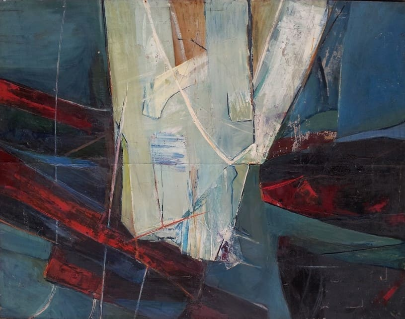 Andrzej Meissner, Composition, 1956, oil/plate, 102 x 130 cm, signed on the back