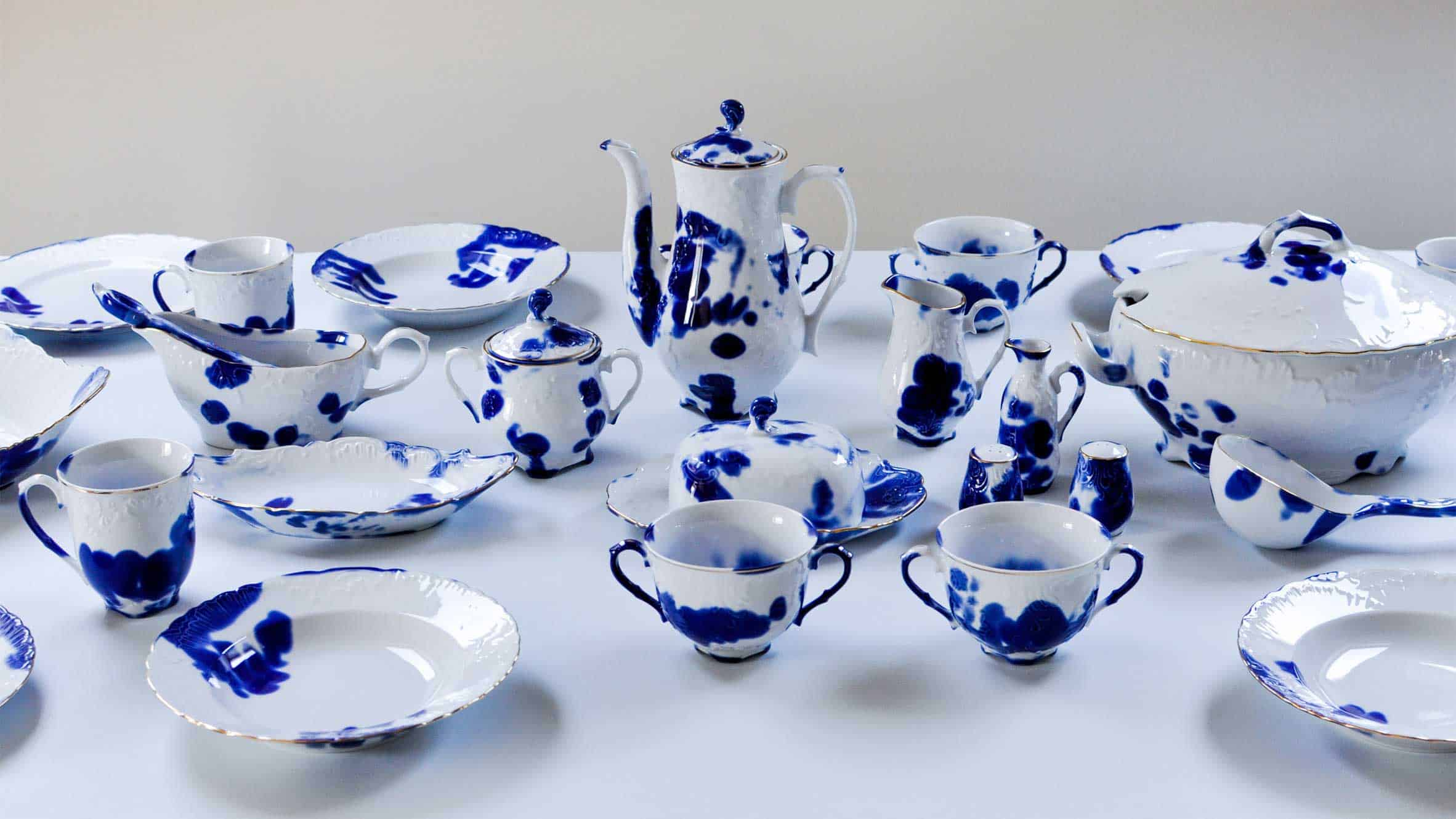 The Human Trace tableware, part of the People from the porcelain factory project, Ewa Klekot and Arkadiusz Szwed.