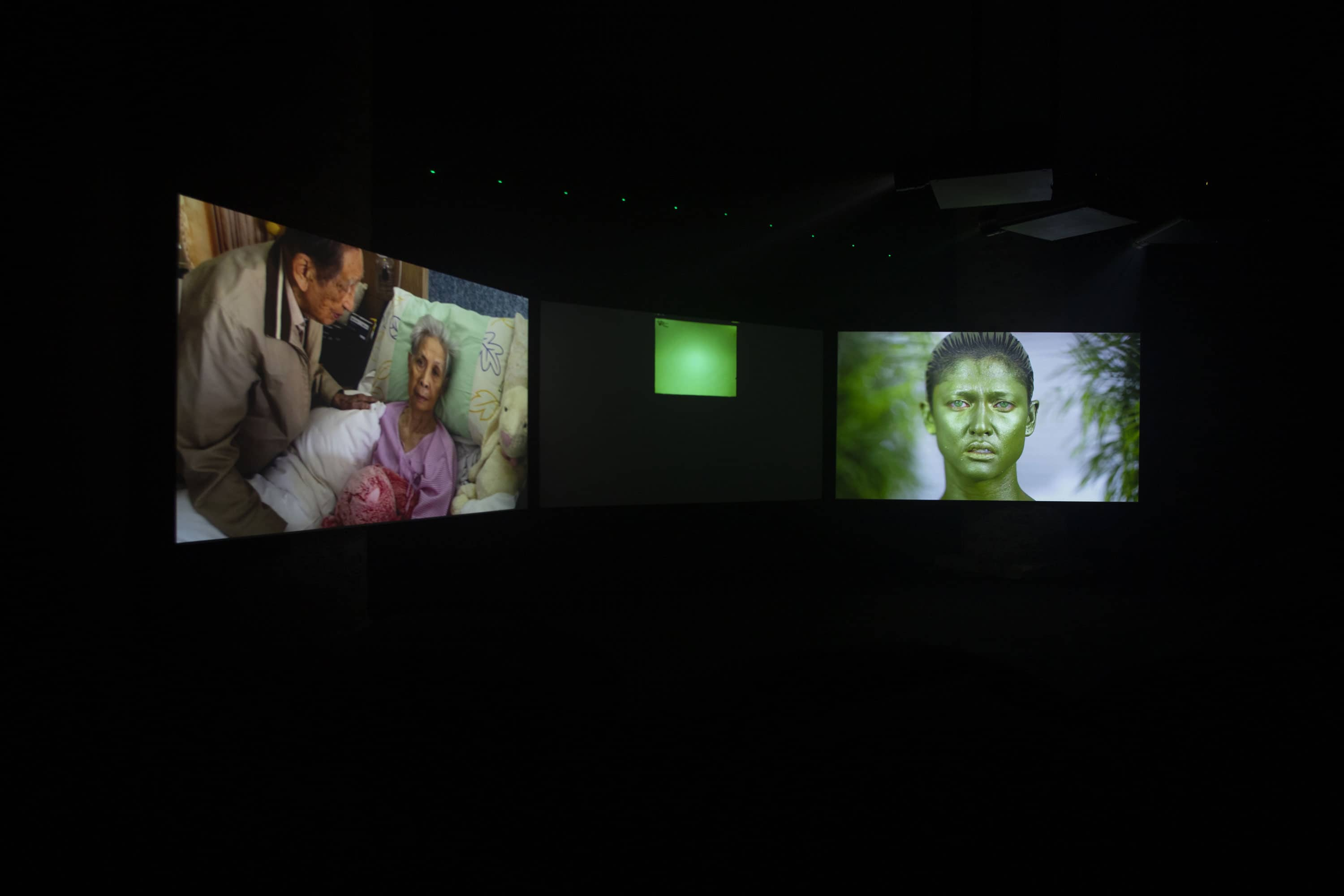 Korakrit Arunanondchai with Alex Gvojic, No history in a room filled with people with funny names 5, 2018, 3 channel video, mixed seashells, tree branches, laser harp, hazer, resin, LED lights, fabric pillows, 58th International Art Exhibition - La Biennale di Venezia, May You Live In Interesting Times, photo by Italo Rondinella, Courtesy: La Biennale di Venezia