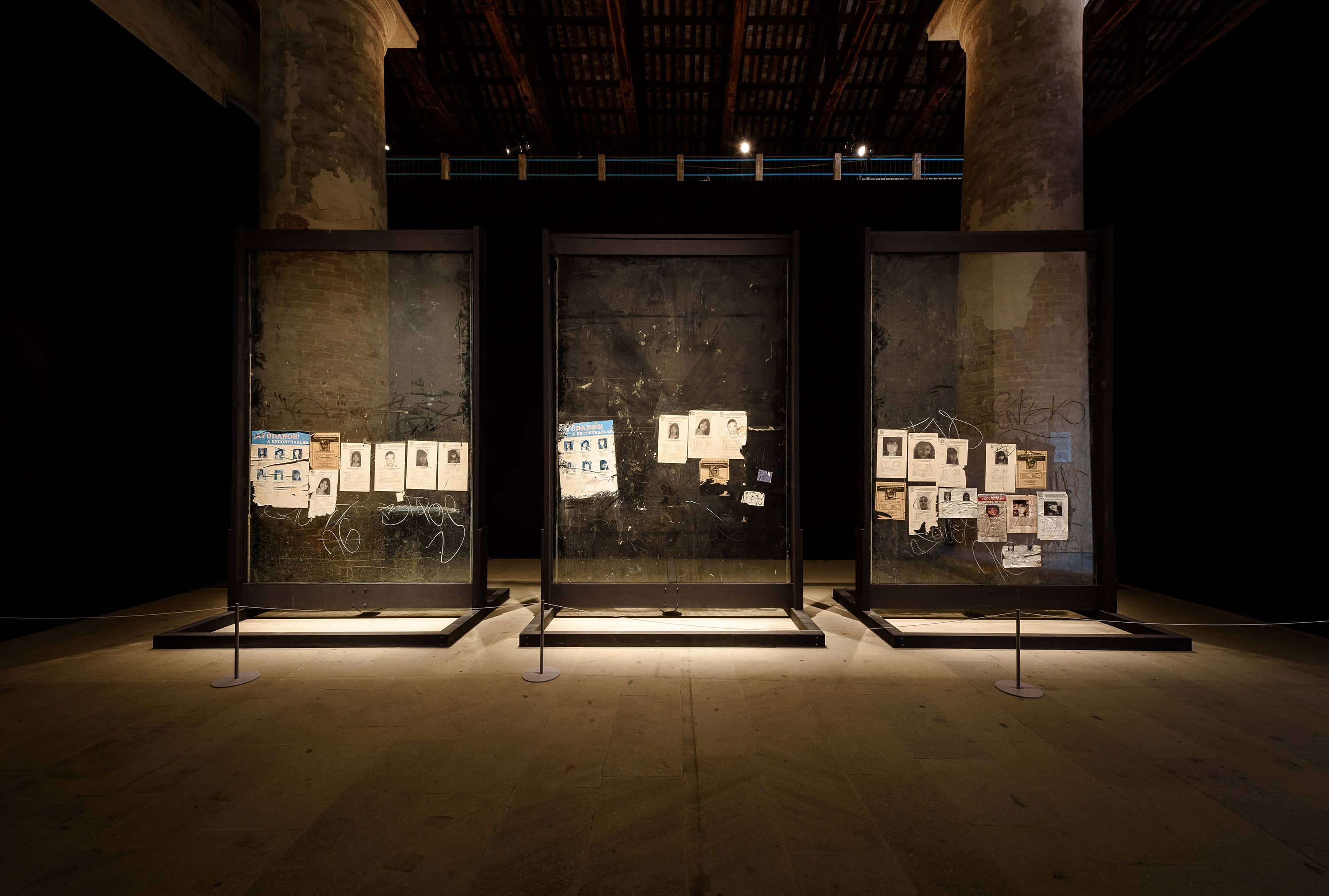 Teresa Margolles, La Búsqueda (2), 2014, Intervention with sound frequency on three glass panels, 58th International Art Exhibition - La Biennale di Venezia, May You Live In Interesting Times, photo by Andrea Avezzù, Courtesy: La Biennale di Venezia