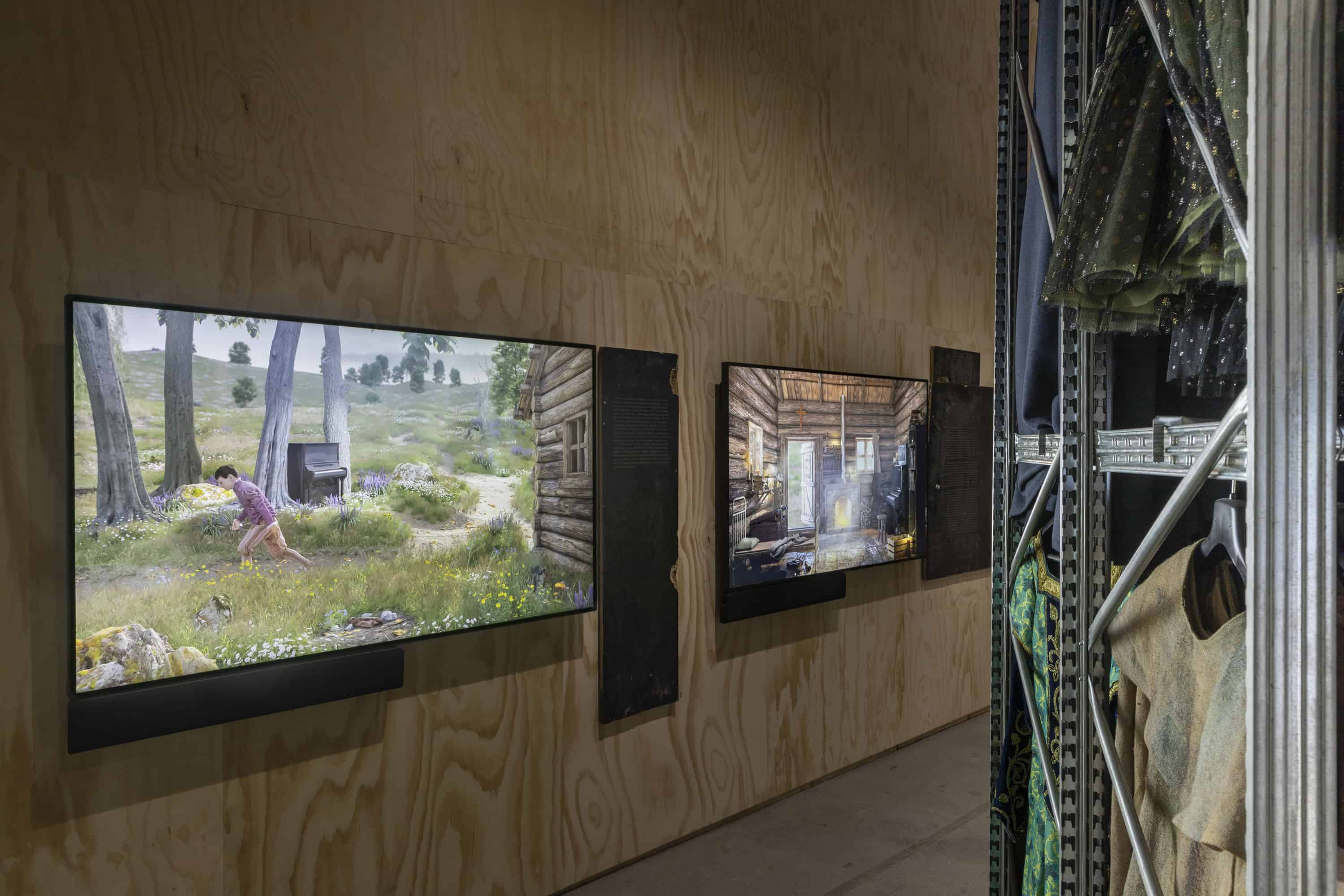 Ed Atkins, Old Food, 2017-19, Video loops with sounds, racks of costumes from Teatro Regio Torino, Texts by Contemporary Art Writing Daily, 58th International Art Exhibition - La Biennale di Venezia, May You Live In Interesting Times, Photo by: Roberto Marossi, Courtesy: La Biennale di Venezia, the artist, Galerie Isabella Bortolozzi, Berlin, Cabinet Gallery, London, Gavin Brown's Enterprise, New York, Rome and dépendance, Brussels