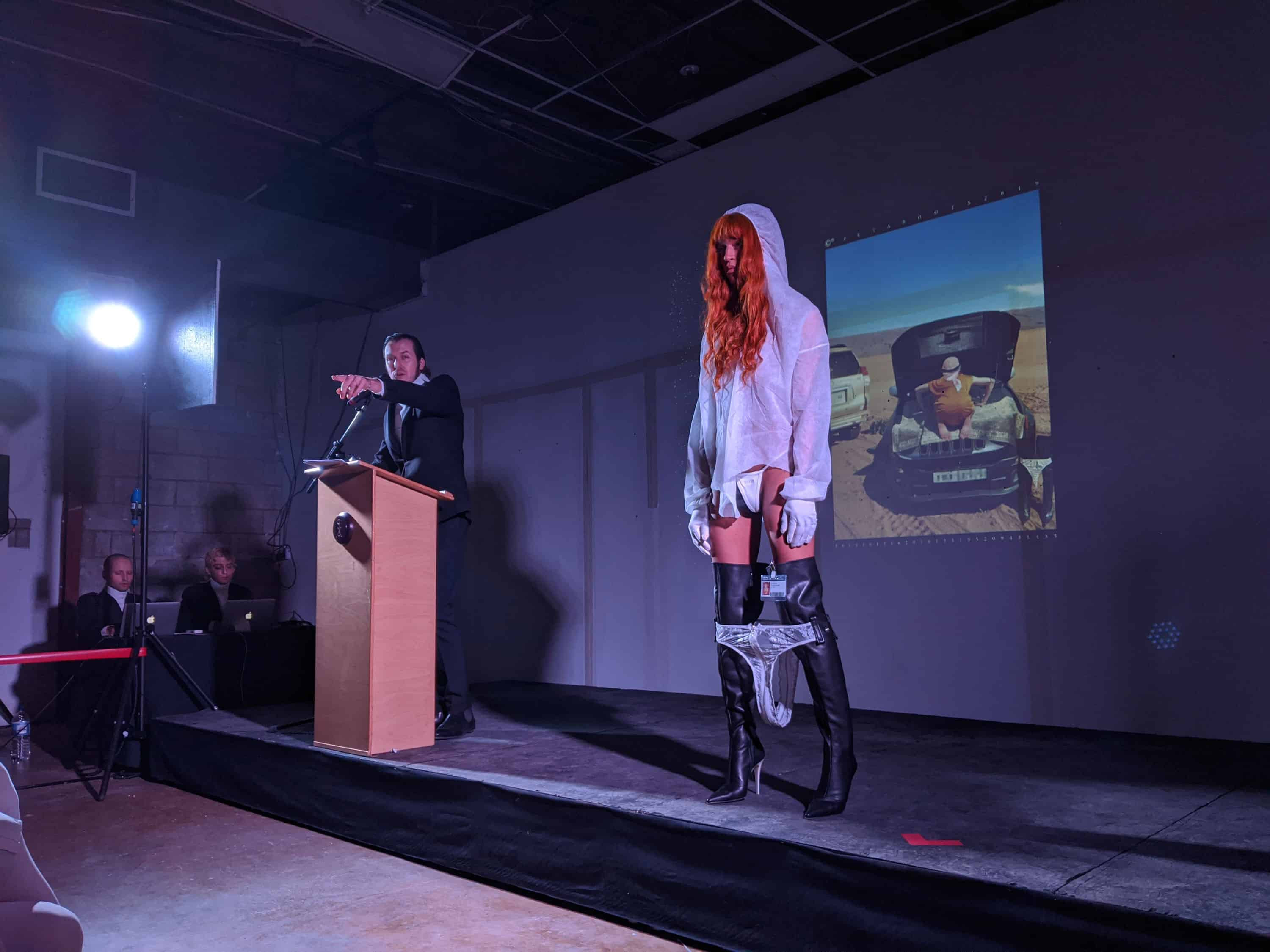 ©®38191613162016135195209451435, 'Puta Boots', AuctionCR28112019, 2019. Performance, curated by Belinda Martin Porras, The Biscuit Factory, London