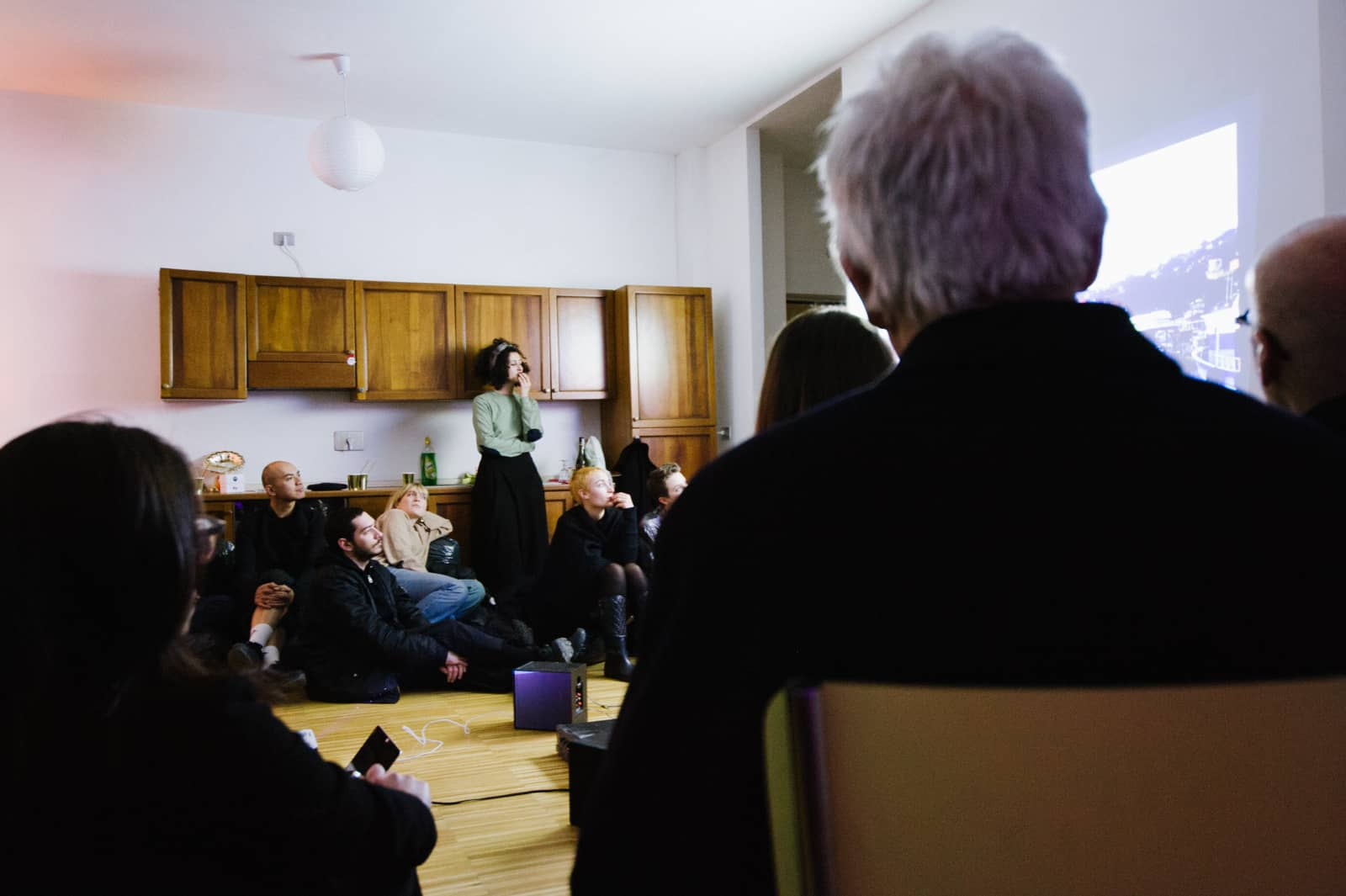 Screening by METASITU in Sergey's private apartment, 2018. Photo by Cristina Leoncini