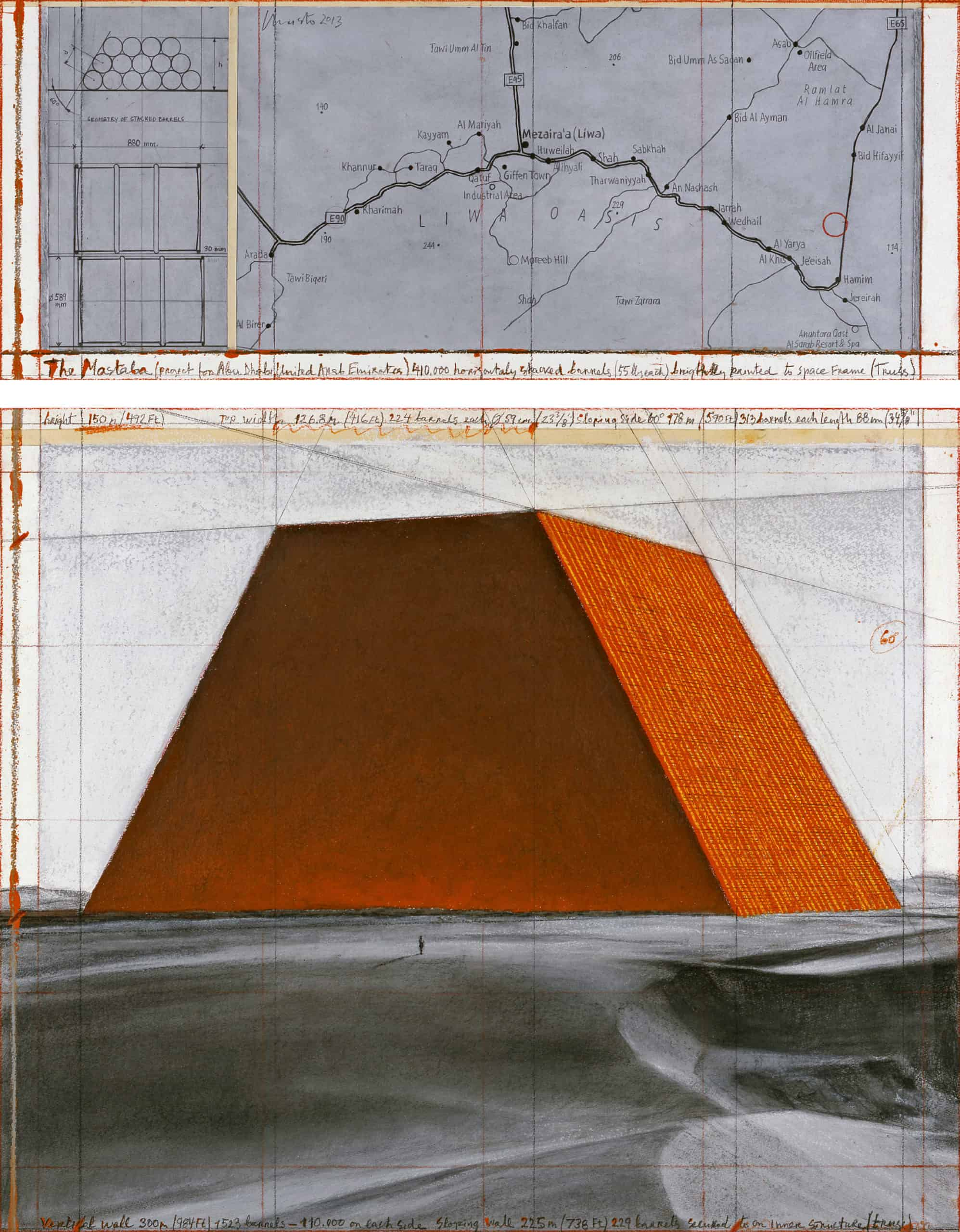 The Mastaba (Project for Abu Dhabi, United Arab Emirates ) drawing 2013 in two parts, photo: André Grossmann © 2013, Christo