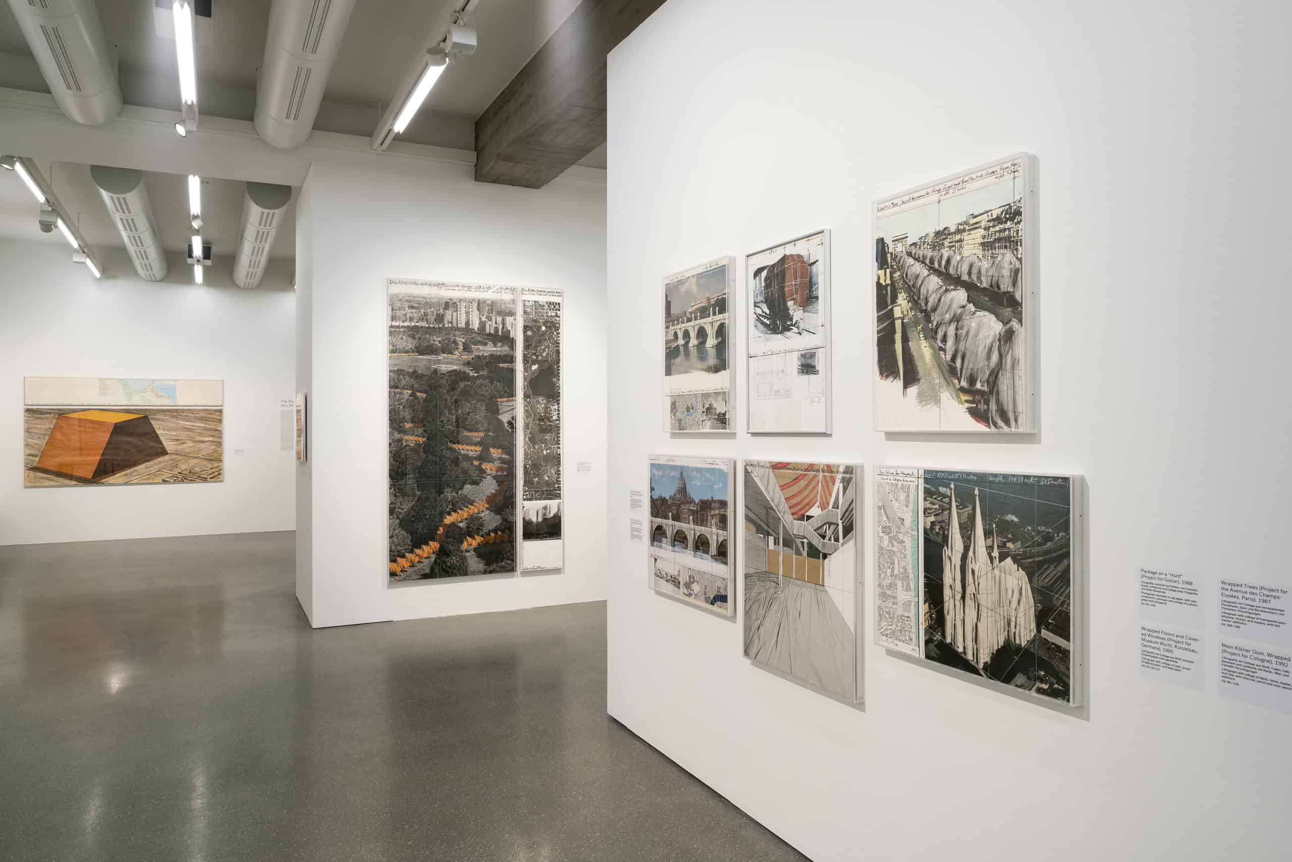 """Installation view, Exhibition """"Christo and Jeanne-Claude: Projects 1963-2020"""", Palais Populaire, Berlin (6.5.-17.8.2020), photo: Mathias Schormann © Christo"""