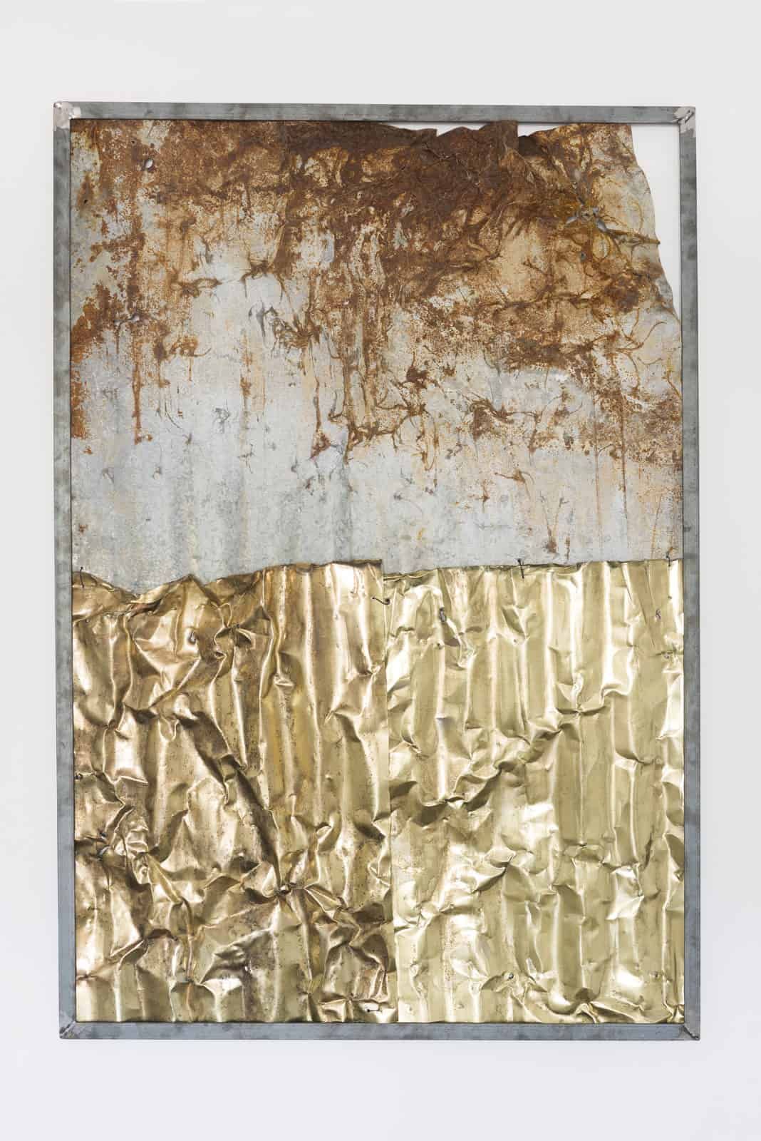 Malek Gnaoui, SC20/Ro 02, 2020, corrugated iron sheets, dismantled from homes and brass-plated. From Essaïda-Carthage series