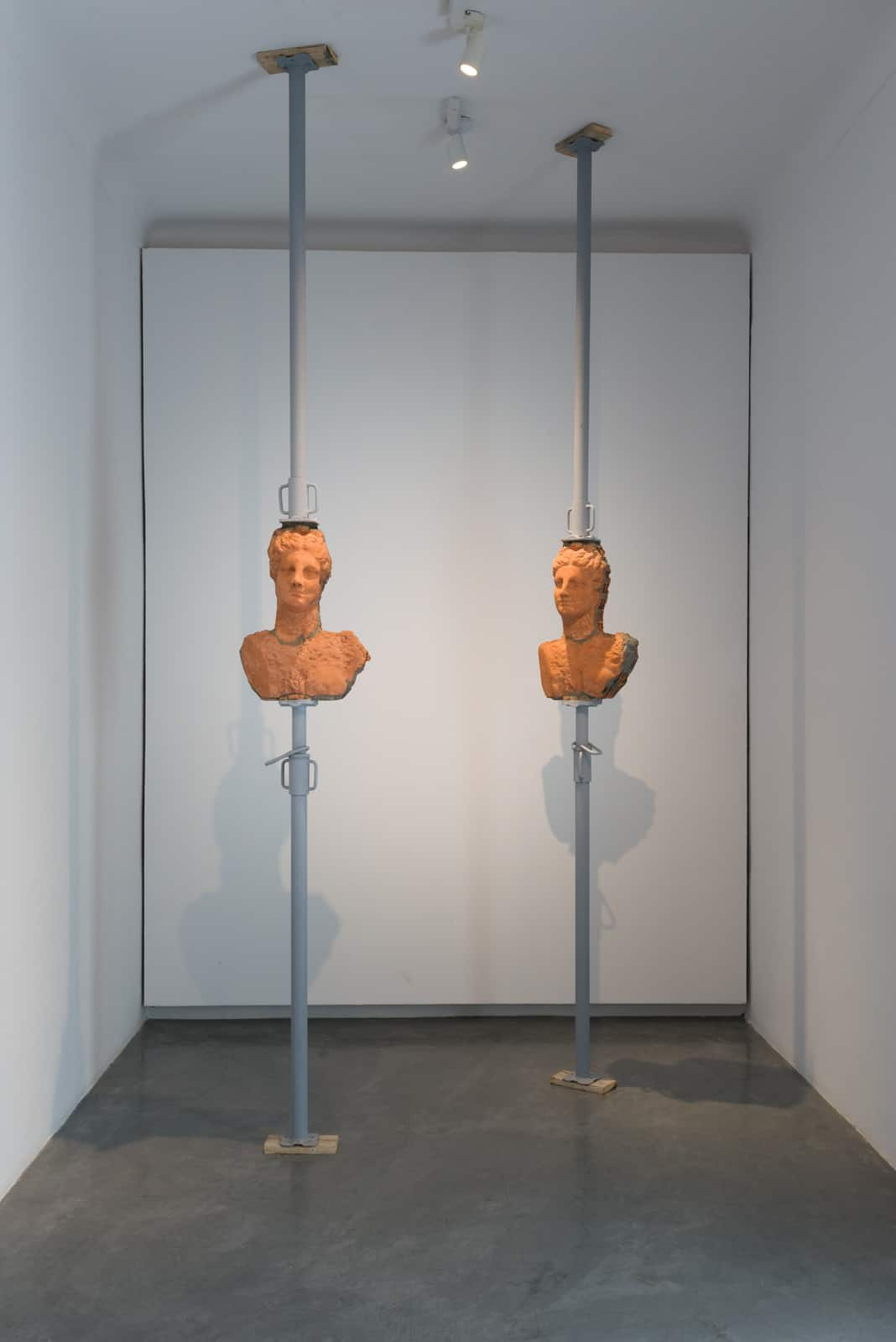 Malek Gnaoui, SC20/between two (Diptych), 2020, bricks, cement and iron construction props