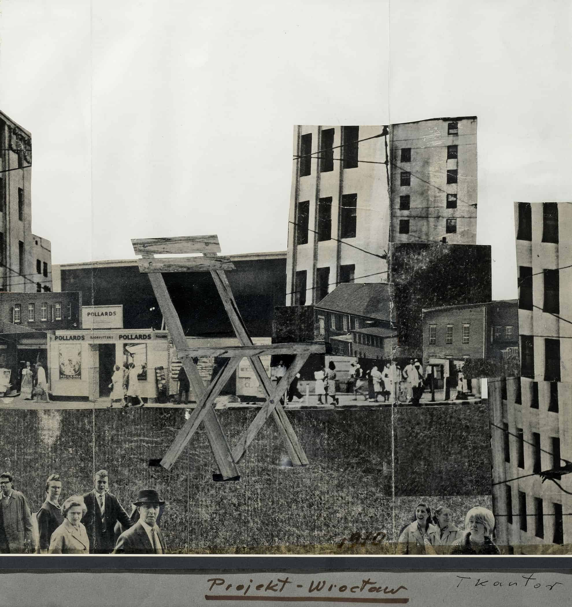 Tadeusz Kantor, Location of the Chair, 1970, collage, paper, 48 x 51 cm. Photograph by Mirosław Łanowiecki. Collection of the Museum of Architecture in Wrocław