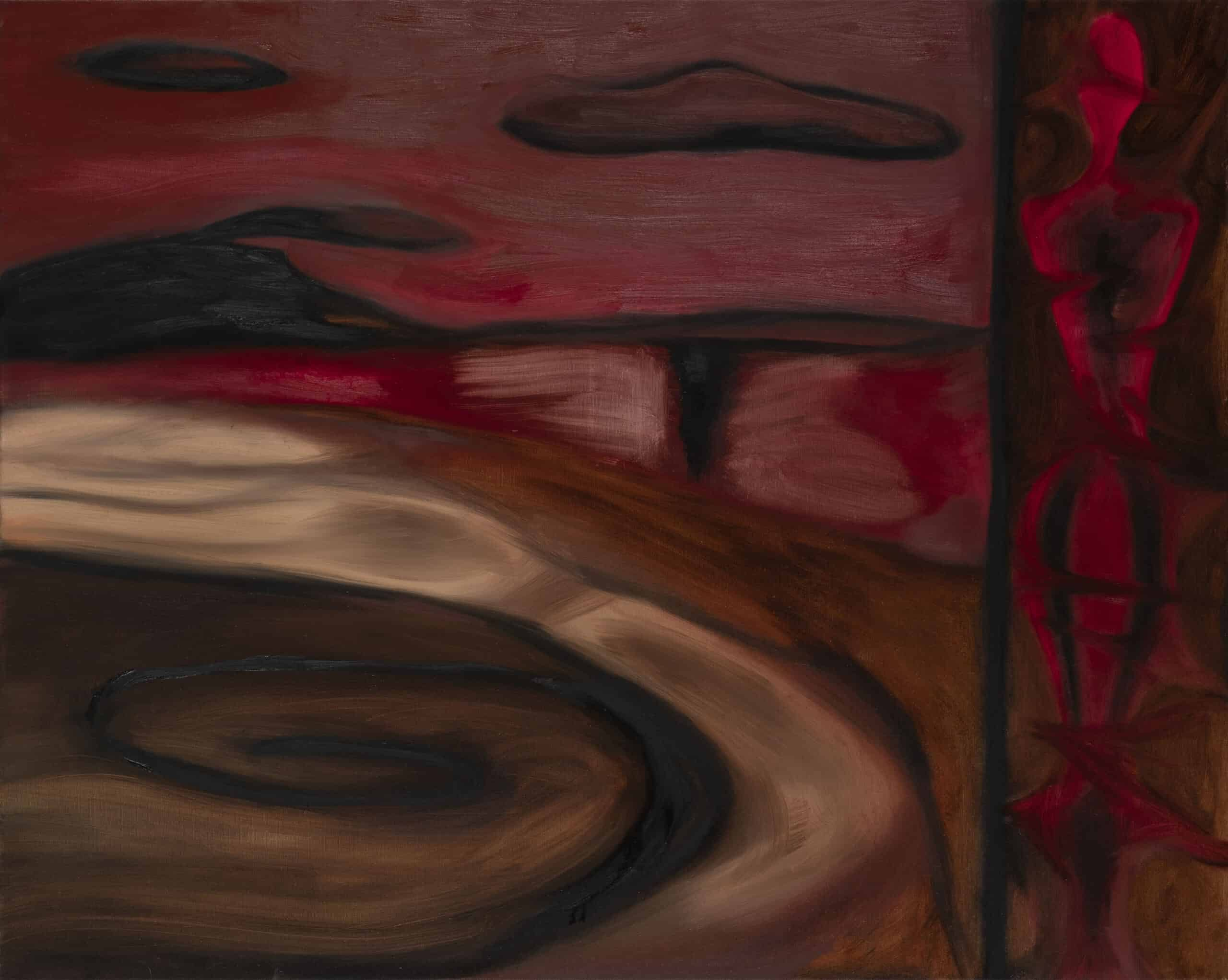 Self-portait with red landscape, oil on linen, 2020