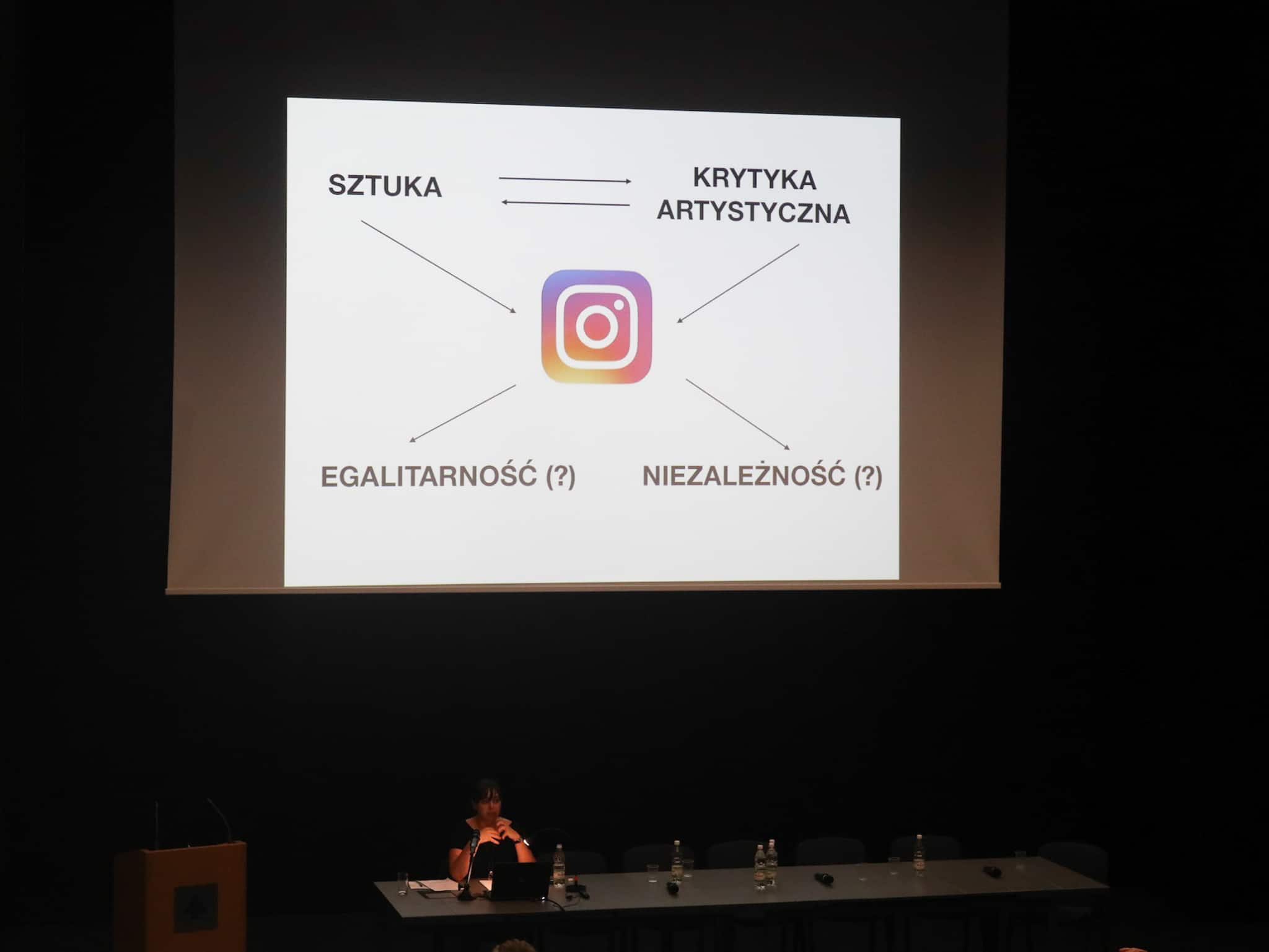 Paulina Olszewska's Presentation (Instagrammable. Instagram in the context of the current art critique) at the 'Art Criticism Today: Language, Economy, Politics' conference organised by AICA Poland, Warsaw 2019, Photo by Bartłomiej Gutowski