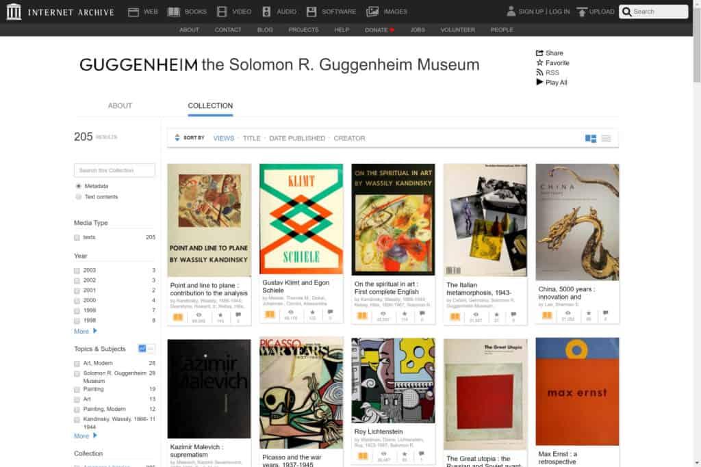 Screenshot of the website Guggenheim on Internet Archive