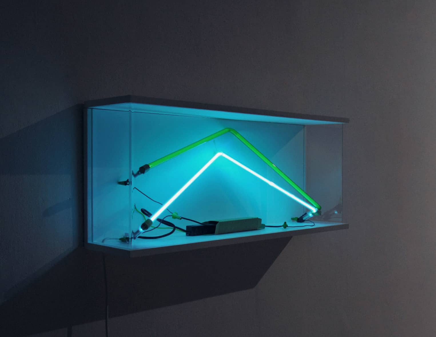 Kuba Bąkowski, Introduction to Task: Psychokinesis on T5 Fluorescent Lamp with Changes in Light and Environment Color Year: 2011 / Medium: photographic e-print / Wooden frame / 140 x 113 cm / + depending on version one to several cabinets (wood, neons, electronics, acrylic glass) 35 x 95x 18 cm;