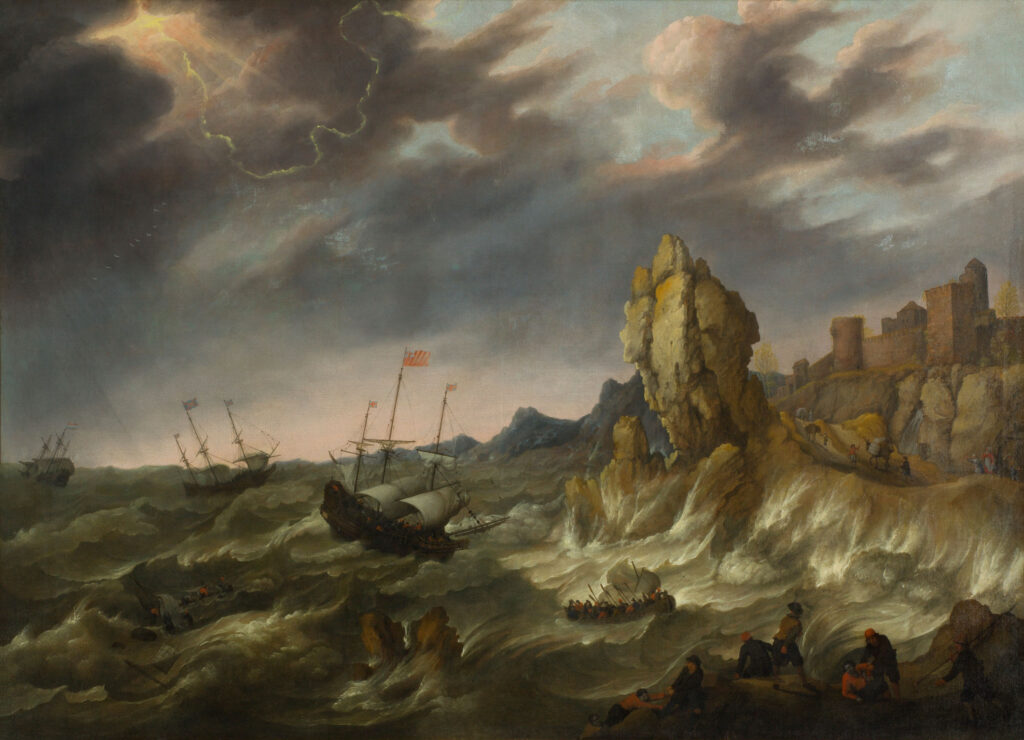 Abraham Willaerts (ca. 1603–1669), Shipping in a Heavy Storm along a Rocky Coast, 1644, canvas, ERGO Hestia Collection
