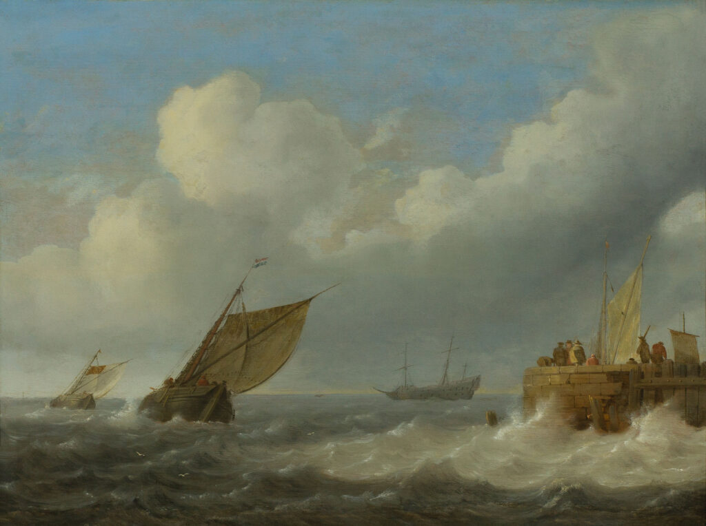 Jan Porcellis (1584–1632), Sailing Vessels in Choppy Waters, ca. 1625–30, panel, ERGO Hestia Collection