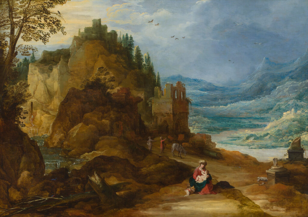 Joos de Momper the Younger (ca. 1564–1635) Mountain Landscape with the Rest on the Flight into Egypt Panel, ERGO Hestia Collection