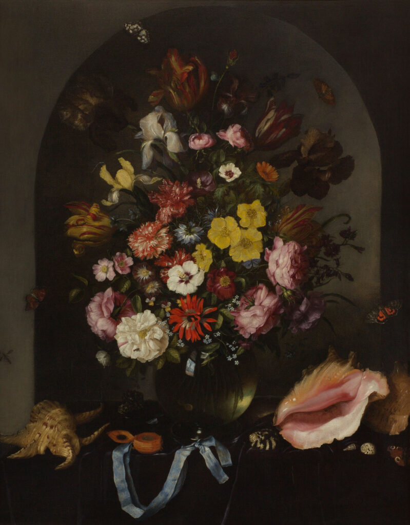 Pieter van de Venne (1615/24–1657) Flowers in a Vase with Seashells and a Watch canvas ERGO Hestia Collection