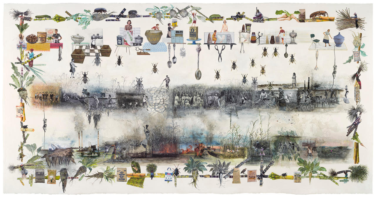 Marzia Migliora, C'est a ce prix que nous mangeons du sucre, from the series Paradoxes of Plenty, #43, 2021. Collage and drawings, 114,5 x 218,5 cm. Courtesy of the artist.