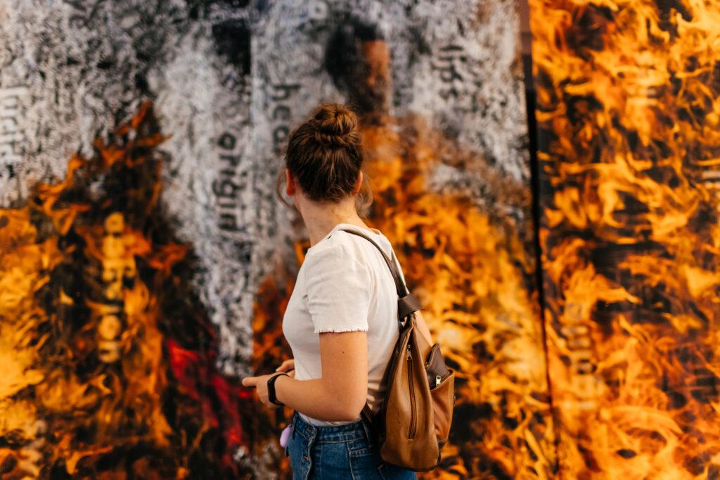 "Bernd Hildebrandt & Liz Ingram – ""Beyond Reckoning"", 2021; digital collage, inkjet printed on Silk Habotai; 4 works 500 × 264 cm. Photo by Vira Kosina-Polanska."