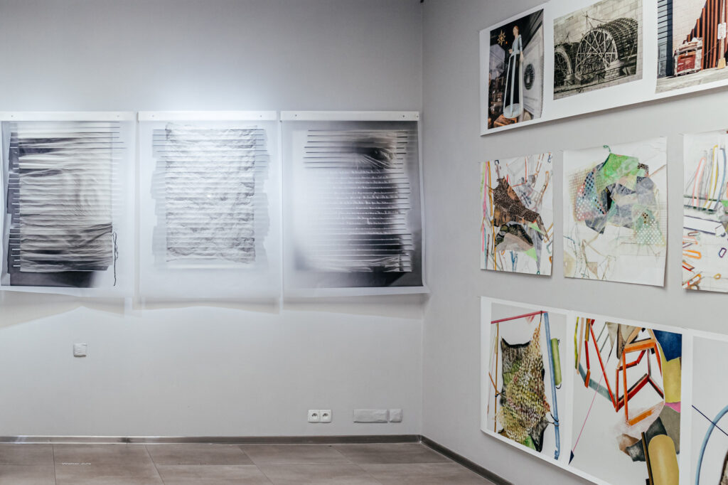 """From left to right: Walter Jule – """"Between Seeing and Knowing"""", 2021; three images, 48 × 35 inches each digital prints on tracing paper with three-dimensional """"foam-board"""" constructions; Yael Brotman – """"Between Stanzas"""", 2021; etching, collage, archival digital printing, stencil, Mylar®, ink, canvas; 3,05 × 4,57 m. Photo by Vira Kosina-Polanska."""