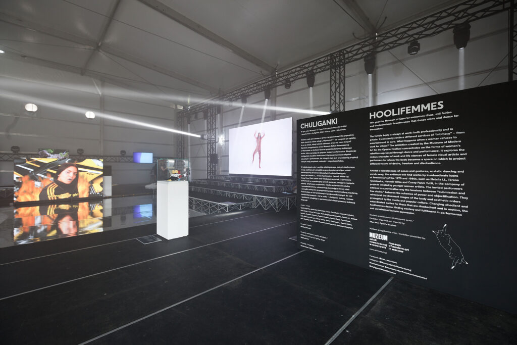 A view of the exhibition 'Hoolifemmes' by the Museum of Modern Art in Warsaw at Open'er Festival 2017, photo by Bartosz Stawiarski.