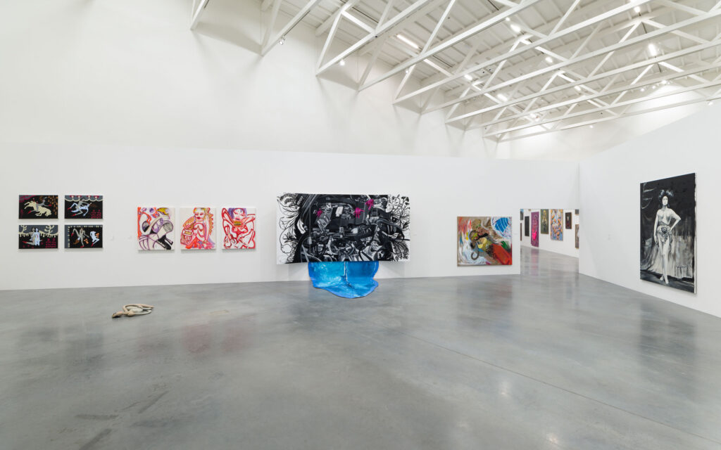 View of the exhibition space 'Paint means blood. Woman, affect and desire in contemporary painting' at the Museum of Modern Art in Warsaw (7 June - 11 08 2019), photo by Daniel Chrobak.