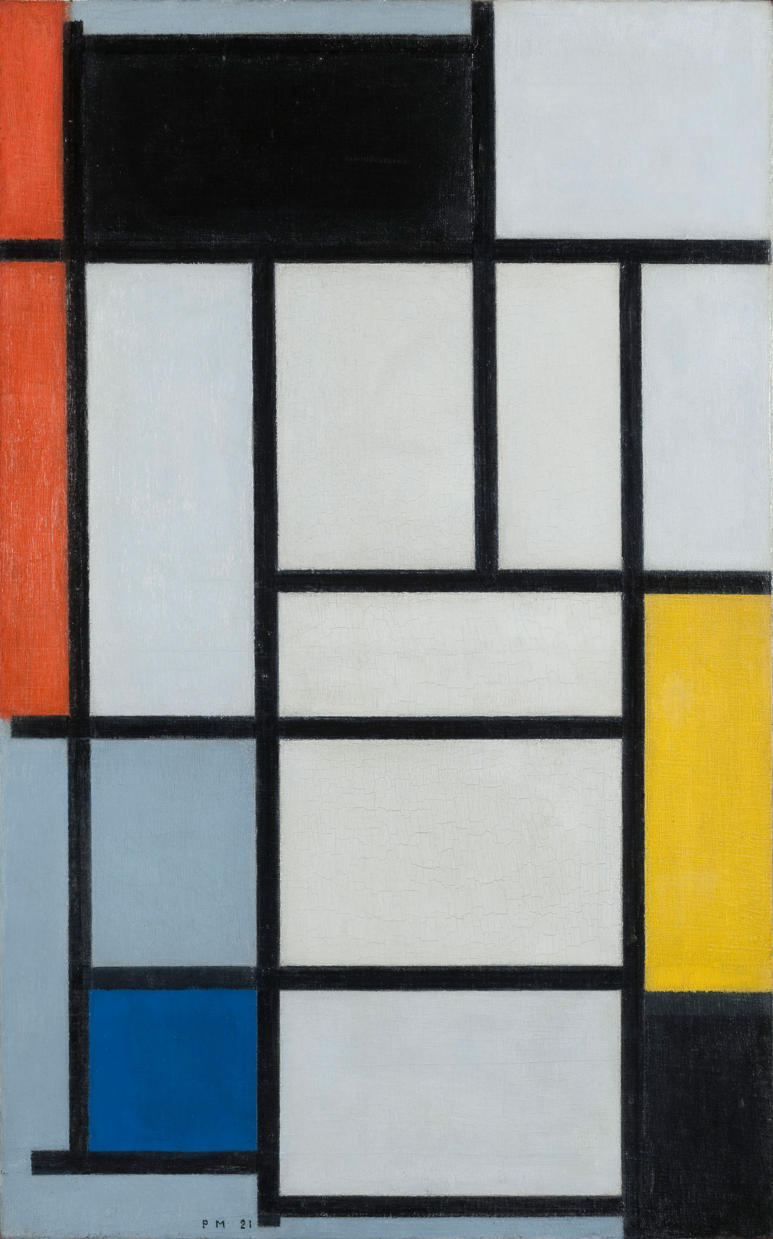 """Piet Mondrian, """" Composition with black, red, yellow, blue and gray"""", 1921, oil on canvas, courtesy of Kunstmuseum Den Haag, the Hague"""